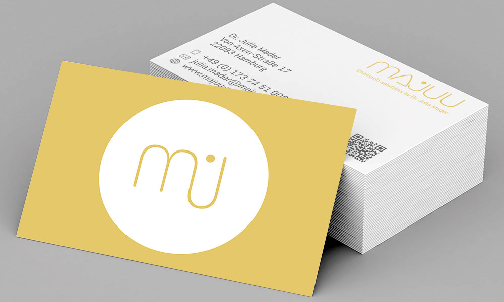 Referenz - Visitenkarten von Majuu Cosmetic solutions by Dr. Julia Mader
