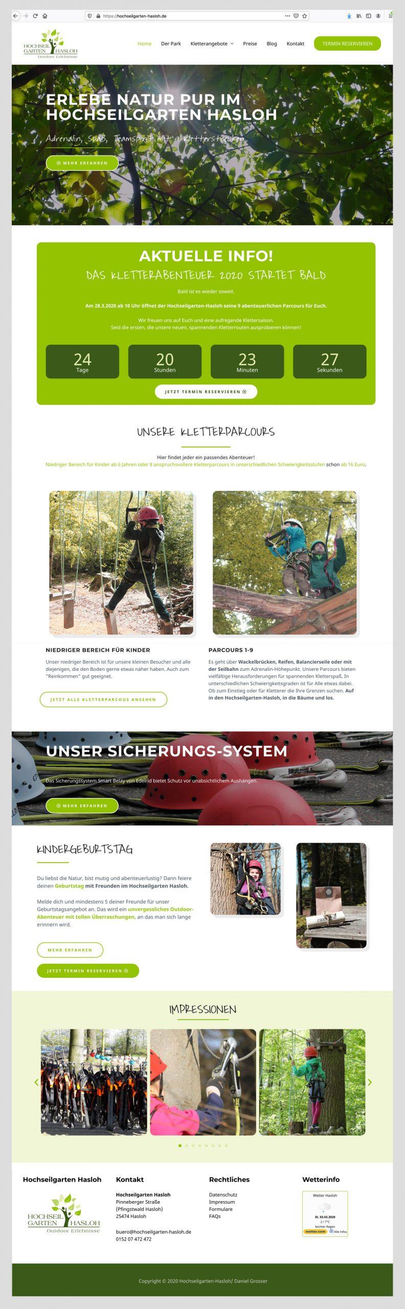 Musterwebsite - Hochseilgarten-Hasloh, Madeleine Möhlmann Grafik- und Webdesign aus Hamburg