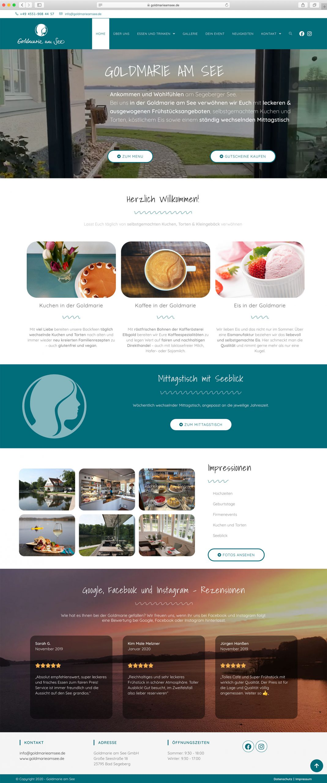 Website - Muster von der Goldmarie am See, Madeleine Möhlmann Grafik- und Webdesign aus Hamburg