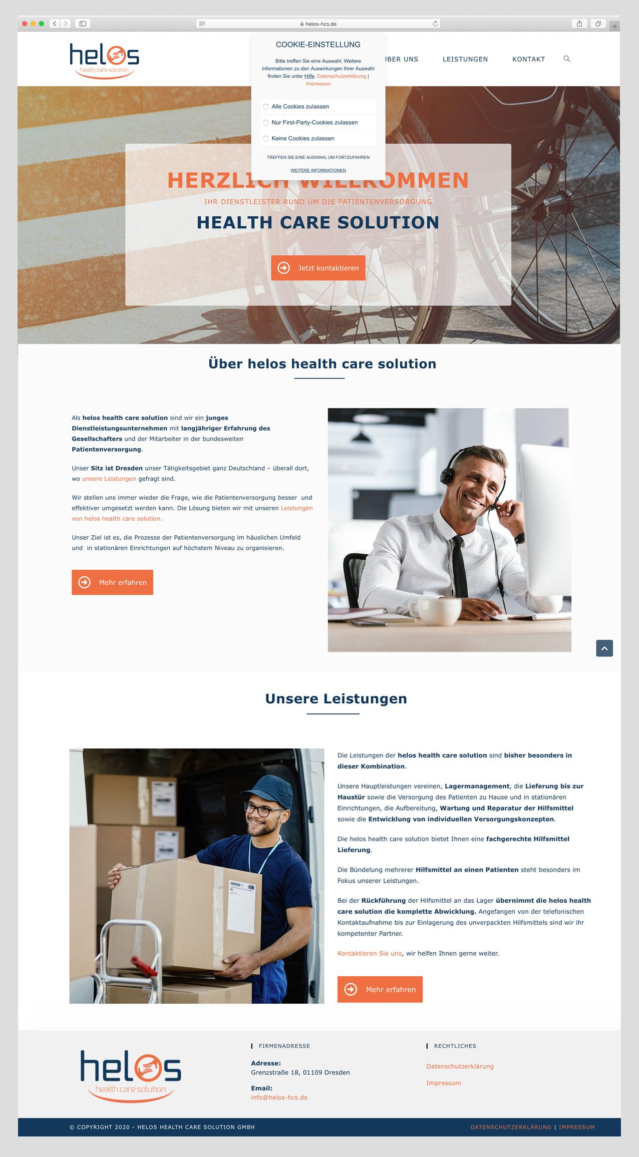 Musterwebsite -helos health care solution, Madeleine Möhlmann Grafik- und Webdesign aus Hamburg