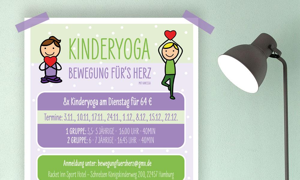 Flyer Kinderyoga - Bewegung fürs Herz