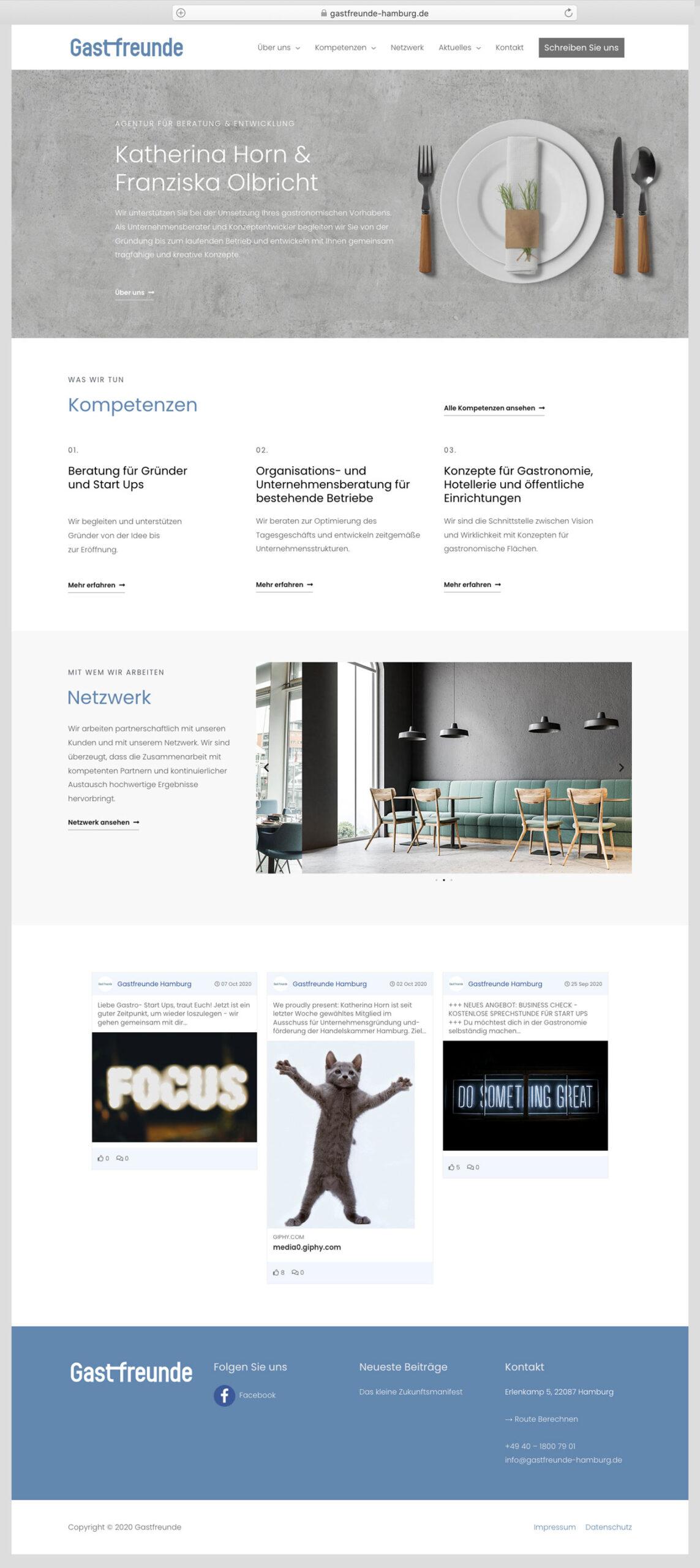 Musterwebseite -Gastfreunde UG, Madeleine Möhlmann Grafik- und Webdesign aus Hamburg